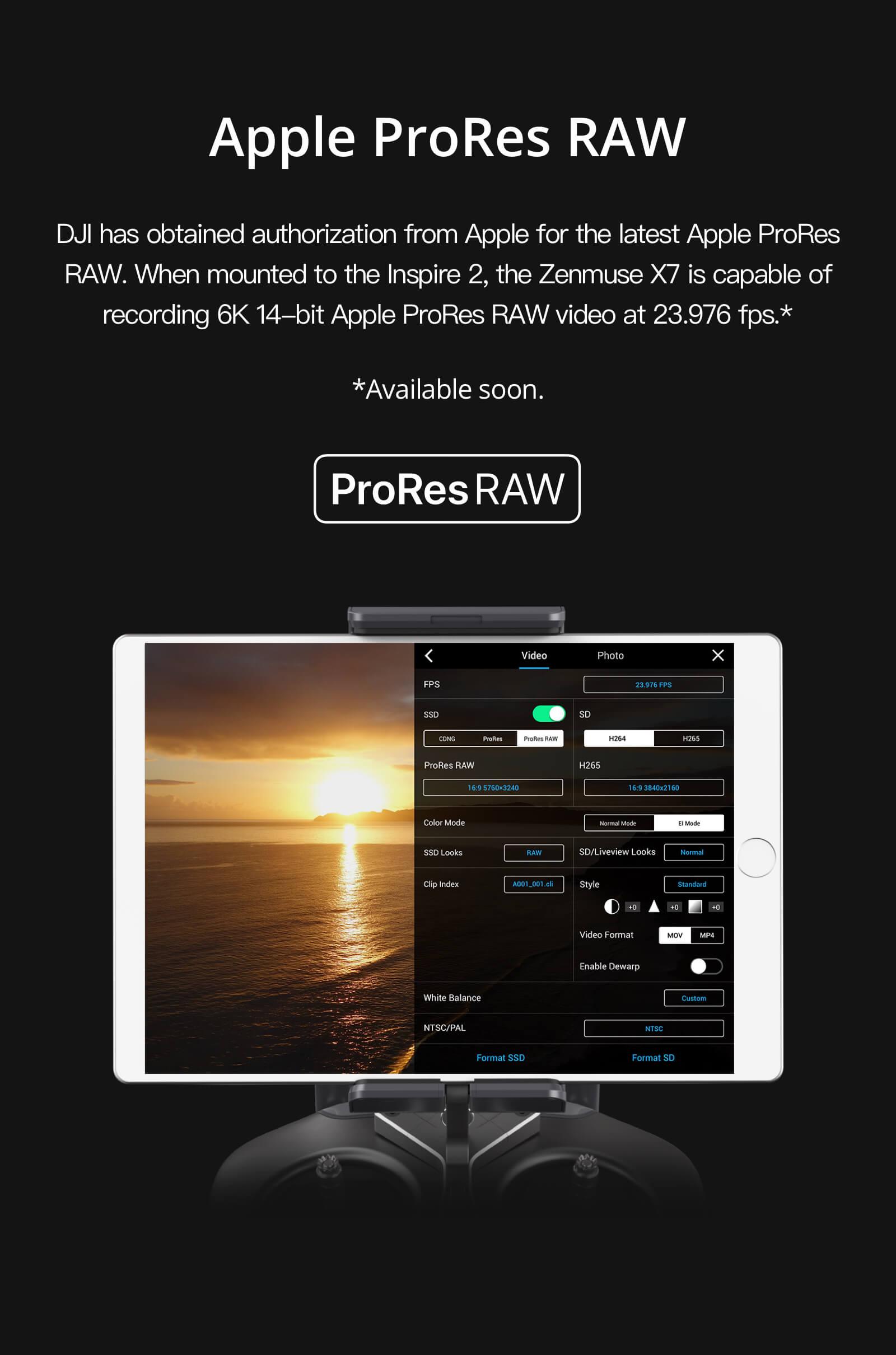 DJI Zenmuse X7 Apple ProRes RAW